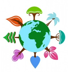 earth with tree vector image