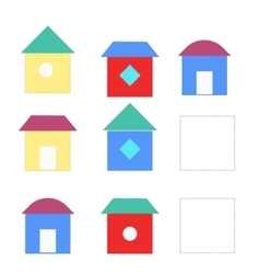 Educational game draw the house in blank square vector