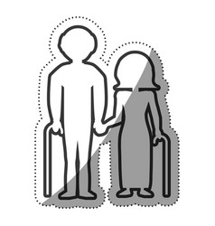 elderly couple grandparents with cane outline vector image