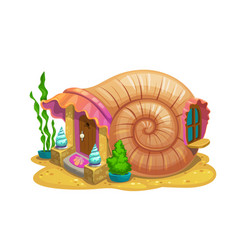 Fairy snail shell house or dwelling sorceress vector