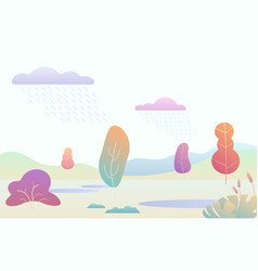 fantasy minimalistic autumn landscape with cartoon vector image