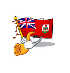 Flag bermuda with trumpet isolated cartoon the vector