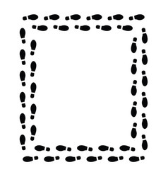 Foot print frame on white background flat vector