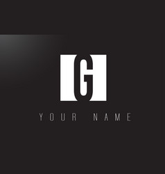 g letter logo with black and white negative space vector image