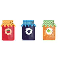 Glass jars jam with blueberry apple raspberry vector
