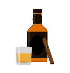 glass of rum cigar whiskey premium alcohol tobacco vector image