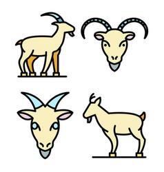 Goat icons set flat vector