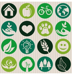 green seamless pattern with ecology signs vector image