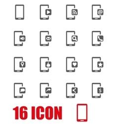 Grey mobile icon set vector