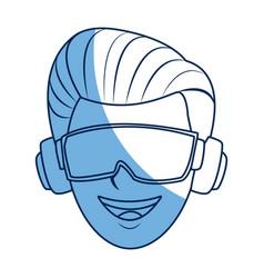 Guy avatar wearing goggles headphones device vector