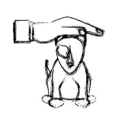 Hand human help dog sick pet sketch vector