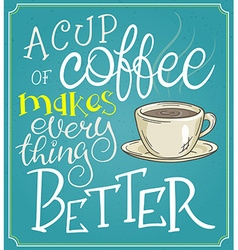 Hand lettering quote - a cup of coffee makes every vector