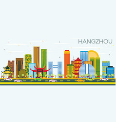 hangzhou china skyline with color buildings and vector image
