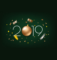 happy new 2019 year greeting card banner vector image