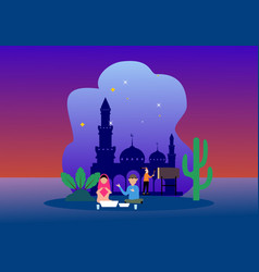 Happy ramadhan mubarak greeting concept vector