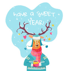 have a sweet year christmas card with cute vector image