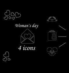 I love you womens doodle 4 icon in set of womens vector
