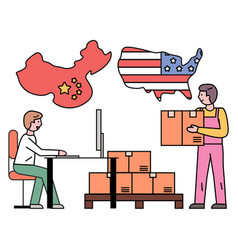 International delivery shipment from china to usa vector