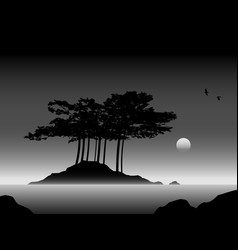 Island with trees in black and white seascape vector