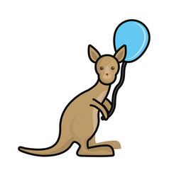 kangaroo with balloon vector image