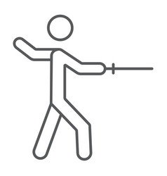 man fencing thin line icon sport and fighting vector image