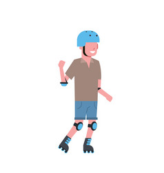 man helmet roller skating over white background vector image