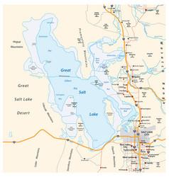Map great salt lake and salt lake city in utah vector