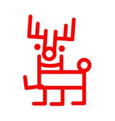 Marker style cartoon deer red christmas vector