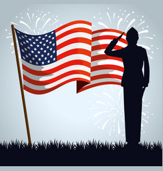 military man silhouette with usa flag vector image