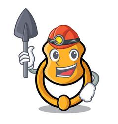 Miner elegant fashion door knocker mascot cartoon vector