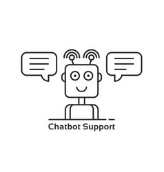 mobile support through linear chatbot vector image