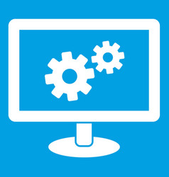 monitor settings icon white vector image