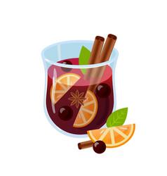 Mulled wine glintwein vector