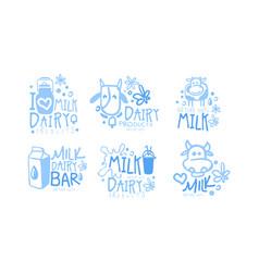 natural milk dairy products logo set milk bar vector image