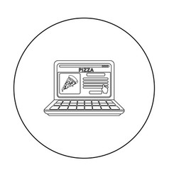 Onoutline pizza icon in outline style isolated on vector