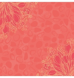 Outline flowers on abstract background vector