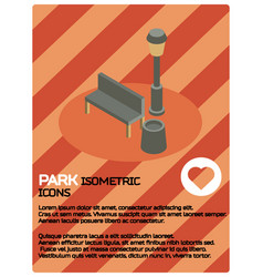 Park color isometric poster vector