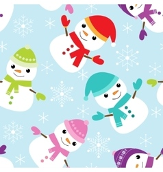 pattern with snowmen vector image vector image