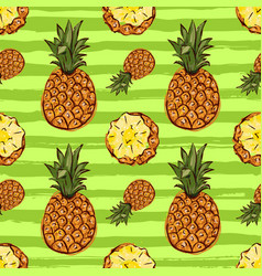 pineapple tropics seamless pattern hand-drawn vector image