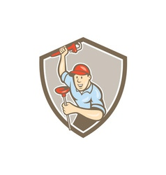Plumber wrench plunger front shield cartoon vector