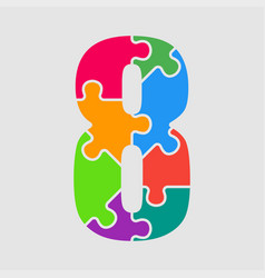 puzzle jigsaw figure or number - eight vector image