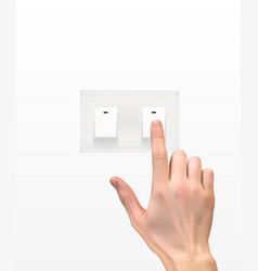 realistic 3d silhouette of hand with light switch vector image