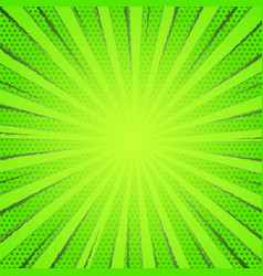Retro comic green rays background raster gradient vector