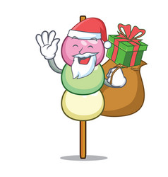 Santa with gift dango mascot cartoon style vector