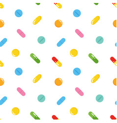 seamless pattern with colorful pills vector image