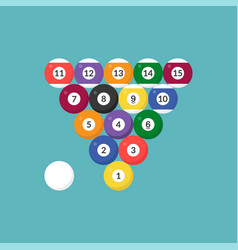 Sequence billiard ball icon with number flat vector