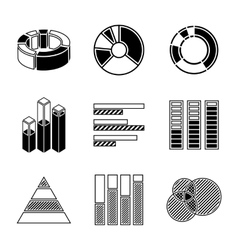 Set of monochrome infographic elements - pie vector image