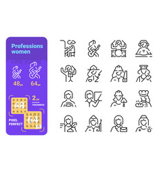 set professions women simple lines icons of vector image