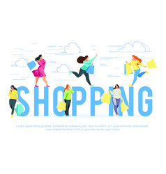 shopping banner template with buyers vector image