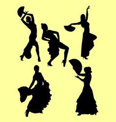 silhouettes flamenco dancers vector image